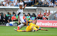 Wayne Routledge of Swansea City is tackled by Sebastian Achim of Petrolul Ploiesti.<br /> UEFA Europa league, play off round, 1st leg match, Swansea city v FC Petrolul Ploiesti at the Liberty stadium in Swansea on Thursday 22nd August 2013. pic by Phil Rees , Andrew Orchard sports photography,