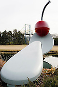 "Minnesota, USA, Minneapolis, ""Spoonbridge and Cherry"" by Claes Oldenburg and Coosje van Bruggen. in the Loring Park sculpture garden. November 2006"