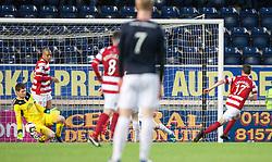 Falkirk's keeper Michael McGovern saves from Hamilton's Lewis Longridge.<br /> Falkirk 1 v 1 Hamilton, Scottish Premiership play-off semi-final first leg, played 13/5/2014 at the Falkirk Stadium.