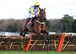 Sussex Ranger ridden by Jamie Moore jumps the last to win the Tokio Marine Kiln Introductory Juvenile Hurdle Race during day one of the Betfair Tingle Creek Christmas Festival at Sandown Park Racecourse.