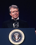 President Carter at a State Dinner for the  Shah of Iran on November 15, 1977.<br /> Photo by Dennis Brack