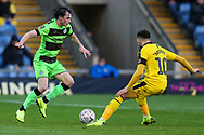 Forest Green Rovers Paul Digby(20) takes Oxford United's Marcus Browne(10) during the The FA Cup 1st round match between Oxford United and Forest Green Rovers at the Kassam Stadium, Oxford, England on 10 November 2018.