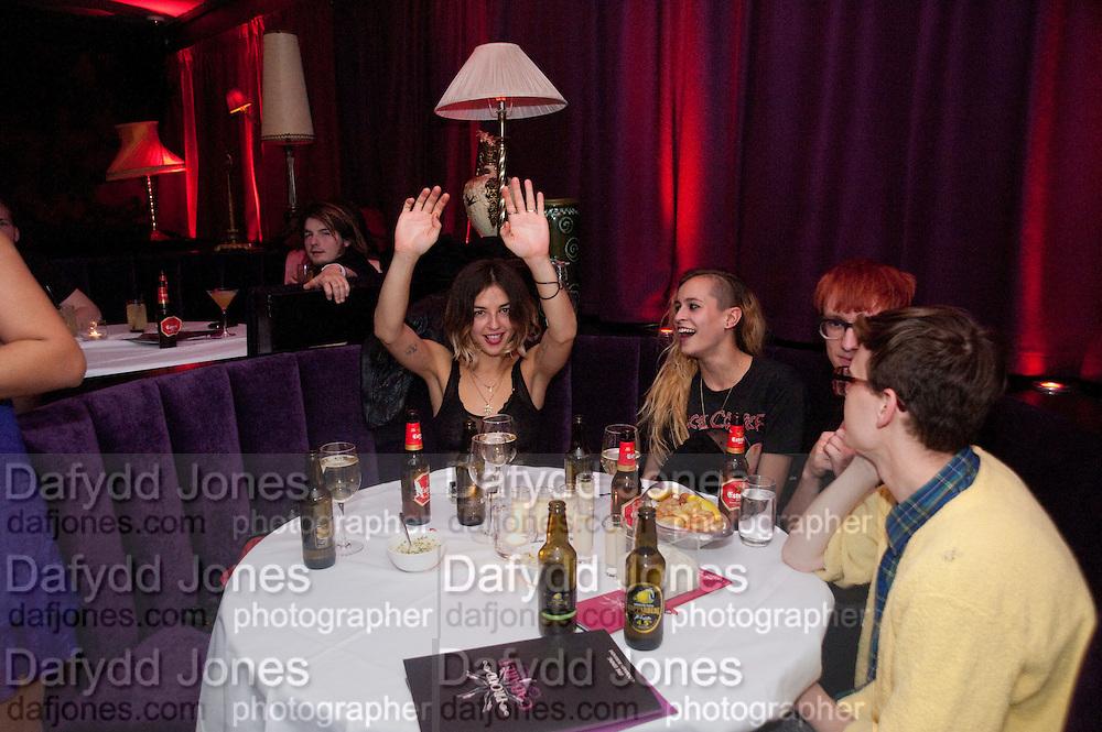 OSCAR TUTTIETT; EMMA CHITTY; ALICE DELLAL; , Proud Cabaret launch. Mark Lane. London. EC3. 3 November 2009 *** Local Caption *** -DO NOT ARCHIVE-© Copyright Photograph by Dafydd Jones. 248 Clapham Rd. London SW9 0PZ. Tel 0207 820 0771. www.dafjones.com.<br /> OSCAR TUTTIETT; EMMA CHITTY; ALICE DELLAL; , Proud Cabaret launch. Mark Lane. London. EC3. 3 November 2009