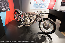 Clem Johnson's nitro-burning Barn Job drag bike, that started life as a 1947 Vincente Rapide, the first drag bike to reach 140, 150, and 160 mph, on display in Drag Racing: America's Fast Time exhibition at the Harley-Davidson Museum during the Milwaukee Rally. Milwaukee, WI, USA. Saturday, September 3, 2016. Photography ©2016 Michael Lichter. (On loan from John Stein)