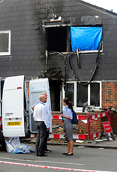 © Licensed to London News Pictures. 08/08/2018<br /> Deptford, UK. A police evidence being gathered outside a property where 7 year Joel Urhie was killed in a suspicious house fire at Adolphus Street, Deptford.  <br /> Photo credit: Grant Falvey/LNP