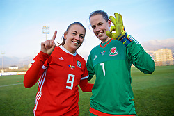 ZENICA, BOSNIA AND HERZEGOVINA - Tuesday, November 28, 2017: Wales' match-winners, goal scorer Kayleigh Green and goalkeeper Laura O'Sullivan who saved a penalty, celebrate after the 1-0 victory over Bosnia and Herzegovina during the FIFA Women's World Cup 2019 Qualifying Round Group 1 match between Bosnia and Herzegovina and Wales at the FF BH Football Training Centre. (Pic by David Rawcliffe/Propaganda)