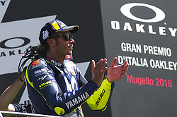 June 3, 2018 - Scarperia, Tuscany, Italy - Valentino Rossi on podium to celebrate the third place after race of  Italian Motogp at Mugello Circuit, Scarperia, Italy; (Credit Image: © Gaetano Piazzolla/Pacific Press via ZUMA Wire)