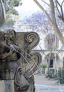 Mermaid in the fountain in Parque Central. Antigua Guatemala, Republic of Guatemala. 03Mar14