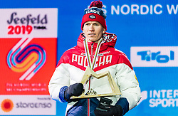 23.02.2019, Medal Plaza, Seefeld, AUT, FIS Weltmeisterschaften Ski Nordisch, Seefeld 2019, Skiathlon, Herren, 30km, Siegerehrung, im Bild Silbermedaillengewinner Alexander Bolshunov (RUS) // Silver medalist Alexander Bolshunov of Russian Federation during the winner Ceremony for the men's 30km Skiathlon competition of FIS Nordic Ski World Championships 2019 at the Medal Plaza in Seefeld, Austria on 2019/02/23. EXPA Pictures © 2019, PhotoCredit: EXPA/ Stefan Adelsberger