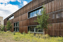 New wood clad modern Pablo Neruda Bibliothek public library in Friedrichshain district of Berlin Germany