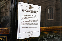 Edinburgh, Scotland, UK. 28 October 2020. Sign stating that pub is closed in window of historic Cafe Royal bar and restaurant. Bars and restaurants in the central belt of Scotland have been forced to close by the Scottish Government.  Iain Masterton/Alamy Live News