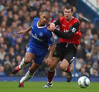 Photo. Daniel Hambury.Digitalsport<br /> Barclays Premiership.<br /> Chelsea v Blackburn Rovers. 23/10/2004.<br /> Chelsea's Johnson and Blackburn Rovers' Emerton