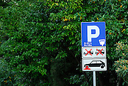 Street Restricted Parking sign indicating a wheel-clamping area. Makarska, Croatia