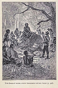 The Display made a good Impression on the Chief from the book ' Mistress Branican ' by Jules Verne, illustrated by Leon Benett. The story begins in the United States, where the heroine, Mistress Branican, suffers a mental breakdown after the death by drowning of her young son. On recovering, she learns that her husband, Captain Branican, has been reported lost at sea. Having acquired a fortune, she is able to launch an expedition to search for her husband, who she is convinced is still alive. She leads the expedition herself and trail leads her into the Australian hinterland. Mistress Branican (French: Mistress Branican, 1891) is an adventure novel written by Jules Verne and based on Colonel Peter Egerton Warburton and Ernest Giles accounts of their journeys across the Western Australian deserts, and inspired by the search launched by Lady Franklin when her husband Sir John Franklin was reported lost in the Northwest Passage. Translated by A. Estoclet, Published in New York, Cassell Pub. Co. 1891.