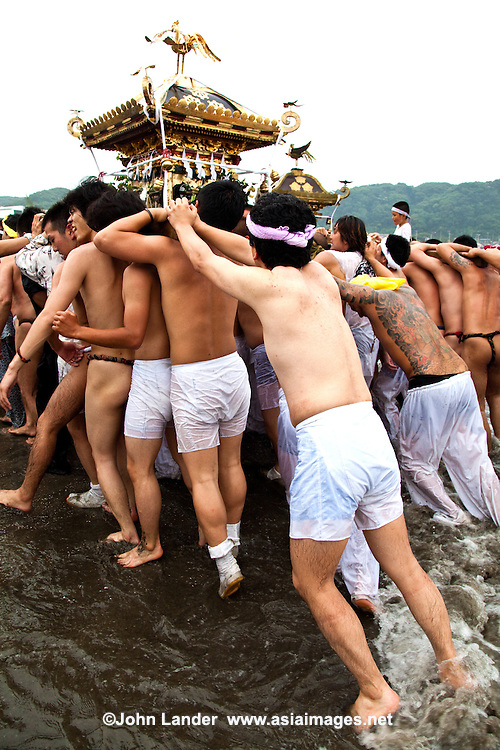 """Kamakura Matsuri Fundoshis - Japanese festivals are traditional festive occasions. Some festivals have their roots in Chinese festivals but have undergone dramatic changes as they mixed with local customs.  Matsuri is the Japanese word for a festival or holiday. In Japan, festivals are usually sponsored by a local shrine or temple, though they can be secular.<br /> There is no specific matsuri days for all of Japan; dates vary from area to area, and even within a specific area, but festival days do tend to cluster around traditional holidays such as Setsubun or Obon. Almost every locale has at least one matsuri in late summer or autumn, usually related to the harvests. Matsuri almost always feature processions which include elaborate floats and """"mikoshi"""" or portable shrines which are paraded around the neighborhood, and sometimes even into the ocean along the coast."""