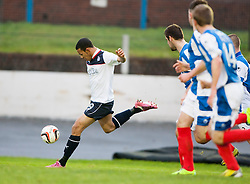 Falkirk's Phil Roberts shots.<br /> Cowdenbeath 0 v 2 Falkirk, Scottish Championship game today at Central Park, the home ground of Cowdenbeath Football Club.<br /> © Michael Schofield.