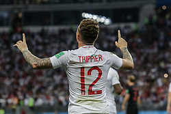 July 11, 2018 - Moscow, Vazio, Russia - Kieran Trippier of England scores goal during the game between England and Croatia valid for the semi final of the 2018 World Cup, held at the Lujniki Stadium in Moscow, Russia. Croatia wins 2-1. (Credit Image: © Thiago Bernardes/Pacific Press via ZUMA Wire)