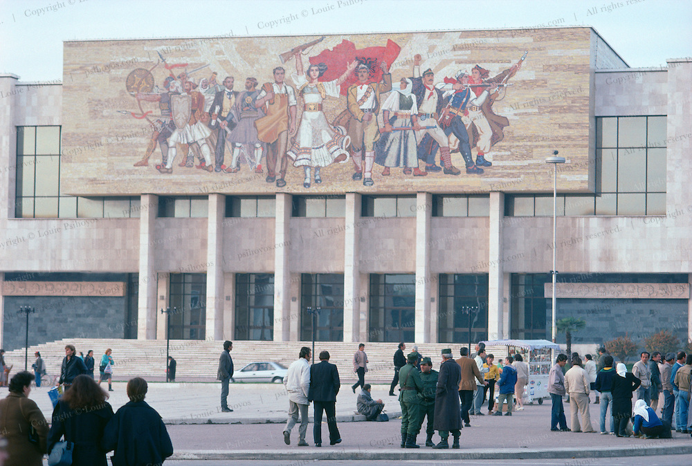 Main Square in Tirana, Albania. The ceramic mural depicts liberation.