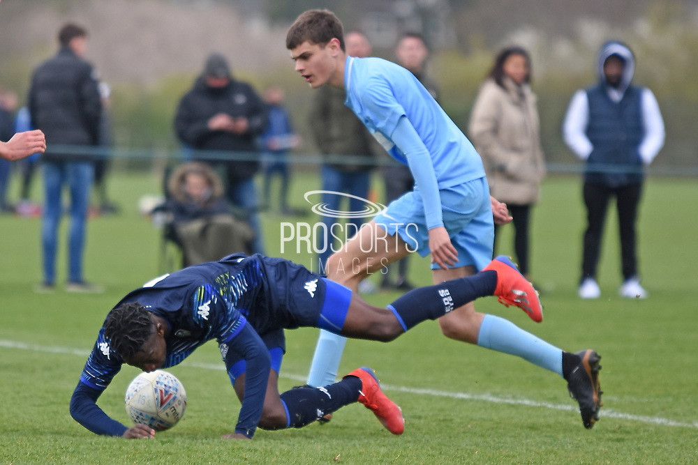 Leeds United forward Henri Kumwenda fouled during the U18 Professional Development League match between Coventry City and Leeds United at Alan Higgins Centre, Coventry, United Kingdom on 13 April 2019.
