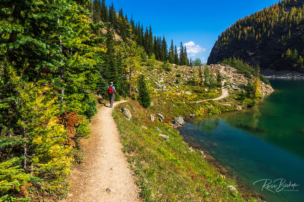 Hiker on the Beehive Trail at Lake Agness, Banff National Park, Alberta, Canada