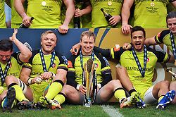 Matthew Tait of Leicester Tigers is all smiles with the Anglo-Welsh Cup trophy - Mandatory byline: Patrick Khachfe/JMP - 07966 386802 - 19/03/2017 - RUGBY UNION - The Twickenham Stoop - London, England - Exeter Chiefs v Leicester Tigers - Anglo-Welsh Cup Final.
