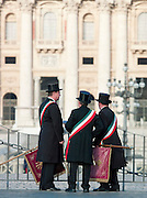 Flag bearers of a marching band at a celebration in St. Peters Square, Vatican City, Rome, Italy.