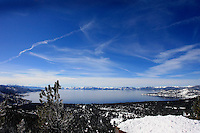 24 February 2008: Overview of the lake from highway 431 after a  Late winter storm in Lake Tahoe, Truckee Nevada California border in the Sierra Nevada Mountains.