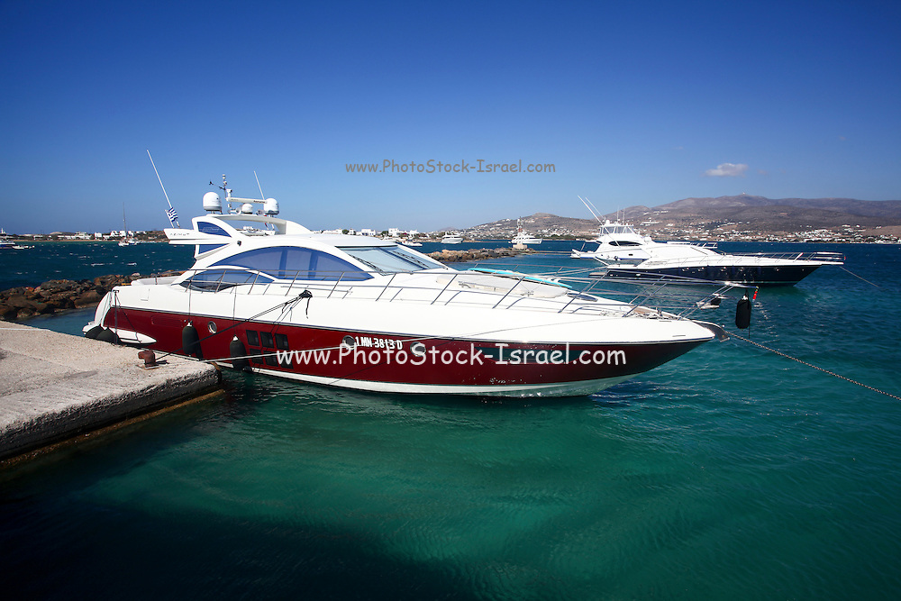 Yacht at Paros, a Greek island in the central Aegean Sea. One of the Cyclades island group, Greece