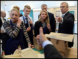 The Duke of York & Boris Johnson College Opening.<br />  The Mayor of London Boris Johnson gives the thumbs up to HRH The Duke of York as he talk's to students during the opening of the Royal Greenwich University Technical College. The new regional academy will develop the skills of 14-19 year olds in engineering and construction, alongside their core academic education, London, United Kingdom. Thursday, 24th October 2013. Picture by Andrew Parsons / i-Images