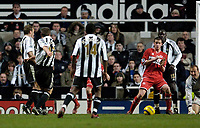 Photo: Jed Wee.<br />Newcastle United v Middlesbrough. The Barclays Premiership. 02/01/2006.<br />Newcastle's Lee Clark (2nd, L) scores an injury time equaliser.