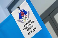 Logo of OKS Sochi 2014 during press conference of Slovenian Ice hockey Federation HZS, on December 27, 2013 in Hala Tivoli, Ljubljana, Slovenia.  Photo by Vid Ponikvar / Sportida