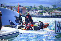 Dun Laoghaire lifeboat and the Irish coastguard rescue a crewman from the French trimaran, Spindrift, on Dublin Bay