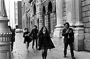 Bernadette Devlin MP arriving at the Four Courts as a defendant in a libel case. When she was elected as MP for Mid Ulster at the age of twenty-one, she was then the youngest member of parliament.<br /> <br /> 17/11/1971