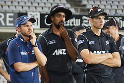 March 4, 2017 - Auckland, New Zealand - New Zealand head coach Mike Hesson (L) , Ish Sodhi (M) and Mitchell Santner (R) look dejected after losing the final match of  One Day International series between New Zealand and South Africa at Eden Park on March 4, 2017 in Auckland, New Zealand (Credit Image: © Shirley Kwok/Pacific Press via ZUMA Wire)