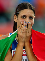 Second placed Italy's Simona La Mantia celebrates after the women's triple jump final at the 2010 European Athletics Championships at the Olympic Stadium in Barcelona on July 31, 2010. (Photo by Vid Ponikvar / Sportida)