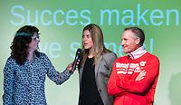 AMSTERDAM - Barbara Barend in gesprek met Kim Lammers en Dennis Gebbink, oprichter Only Friends. . Zij  presenteert het  KNHB Symposium Train de Trainer, voor trainer, coach , begeleider binnen het aangepaste hockey. Dit alles in het Ronald MacDonald Centre in Amsterdam. COPYRIGHT KOEN SUYK