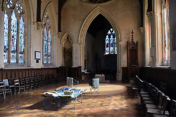 Champing at St Michael the Archangel, church saved by The Churches Conservation Trust. Booton, Norfolk, UK Sep 2019