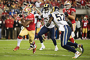 San Francisco 49ers cornerback Marcus Cromartie (20) carries the ball into the end zone for a touchdown against the Los Angeles Rams at Levi's Stadium in Santa Clara, Calif., on September 12, 2016. (Stan Olszewski/Special to S.F. Examiner)