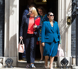 London, July 18th 2017. In a clear demonstration of unity with a cabinet that has seemed to be split over Brexit and other issues,  Government ministers, L-R Secretary of State for Culture, Media and Sport Karen Bradley, Lord Privy Seal and Leader of the House of Lords Baroness Natalie Evans  and International Development Secretary Priti Patel leave the last cabinet meeting together before the Parliamentary summer recess at Downing Street in London.