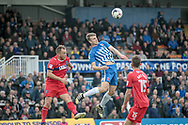 Rhys Oates (Hartlepool United) wins the header during the EFL Sky Bet League 2 match between Hartlepool United and Carlisle United at Victoria Park, Hartlepool, England on 14 April 2017. Photo by Mark P Doherty.