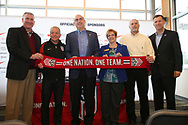 CARY, NC - FEBRUARY 28: From left: Greater Raleigh Convention and Visitors Bureau CEO Dennis Edwards, United States Men's National Team head coach Dave Sarachan, North Carolina FC (USL, NWSL) owner and USSF Board Member Steve Malik, Town of Cary Mayor Pro Tem Lori Bush, Town of Cary Sports Venues Manager William Davis, and NCFC President and General Manager Curt Johnson. The United States Men's National Team held a press conference on February 28, 2018 at Sahlen's Stadium at WakeMed Soccer Park in Cary, NC to preview an international friendly they will be playing in the stadium on March 27th.