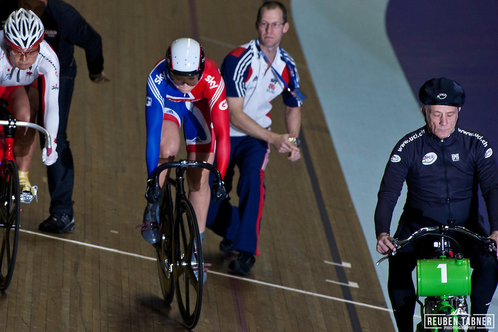 Jessica Varnish of Great Britain at the start of the Women's Keirin at the UCI Track Cycling World Cup, in Manchester.