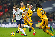 Harry Kane of Tottenham Hotspur (L) under pressure from Beram Kayal of Brighton & Hove Albion (c). Premier league match, Tottenham Hotspur v Brighton & Hove Albion at Wembley Stadium in London on Wednesday 13th December 2017.<br /> pic by Steffan Bowen, Andrew Orchard sports photography.