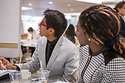 Purchase, NY – 31 October 2014. Mamaroneck High School students Kennedy Whittington-Cooper, left, and Ittai Rosales. The Business Skills Olympics was founded by the African American Men of Westchester, is sponsored and facilitated by Morgan Stanley, and is open to high school teams in Westchester County.
