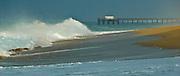 Waves Crashing On The Beach At Huntington Beach Pier
