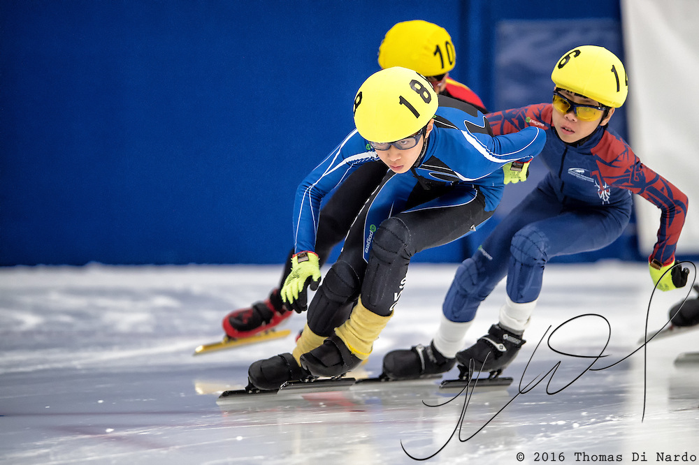 March 20, 2016 - Verona, WI - Eric Hwang, skater number 188 competes in US Speedskating Short Track Age Group Nationals and AmCup Final held at the Verona Ice Arena.