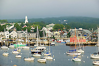 Pigeon Cove in Rockport, Massachusetts with the Motif in the harbor that is the most photographed symbol in America with fishing and lobster boats