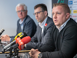 06.03.2019, Tivoli Stadion Tirol, Innsbruck, AUT, 1. FBL, FC Wacker Innsbruck, Präsentation des neuen Cheftrainers Thomas Grumser, im Bild v.l. Präsident Gerhard Stocker (Wacker Innsbruck), Alfred Hörtnagl (Wacker Innsbruck), Trainer Thomas Grumser (Wacker Innsbruck) // f.l. president Gerhard Stocker Alfred Hoertnagl (Wacker Innsbruck) Coach Thomas Grumser (Wacker Innsbruck) during the presentation of the new head coach Thomas Grumser of the tipico-Bundesliga club FC Wacker Innsbruck at the Tivoli Stadion Tirol in Innsbruck, Austria on 2019/03/06. EXPA Pictures © 2019, PhotoCredit: EXPA/ Johann Groder