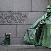 A statue of President Franklin Delano Roosevelt at the FDR Memorial on the banks of the Tidal Basin in Washingotn DC.
