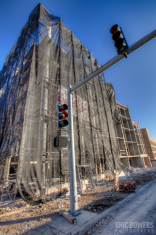 Demolition of the 75% completed West Edge project on the Plaza in Kansas City Missouri by architect Moshe Safdie.